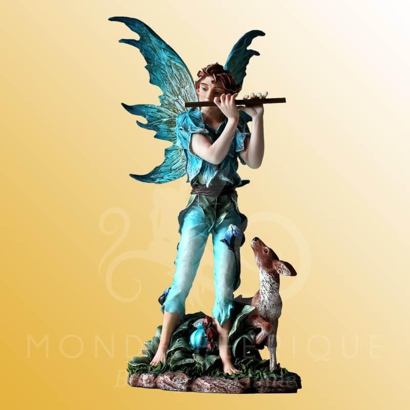 Figurine Elfe Flûte, Paon et Biche -- 29cm