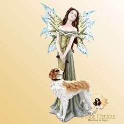 statuette fée avec chien