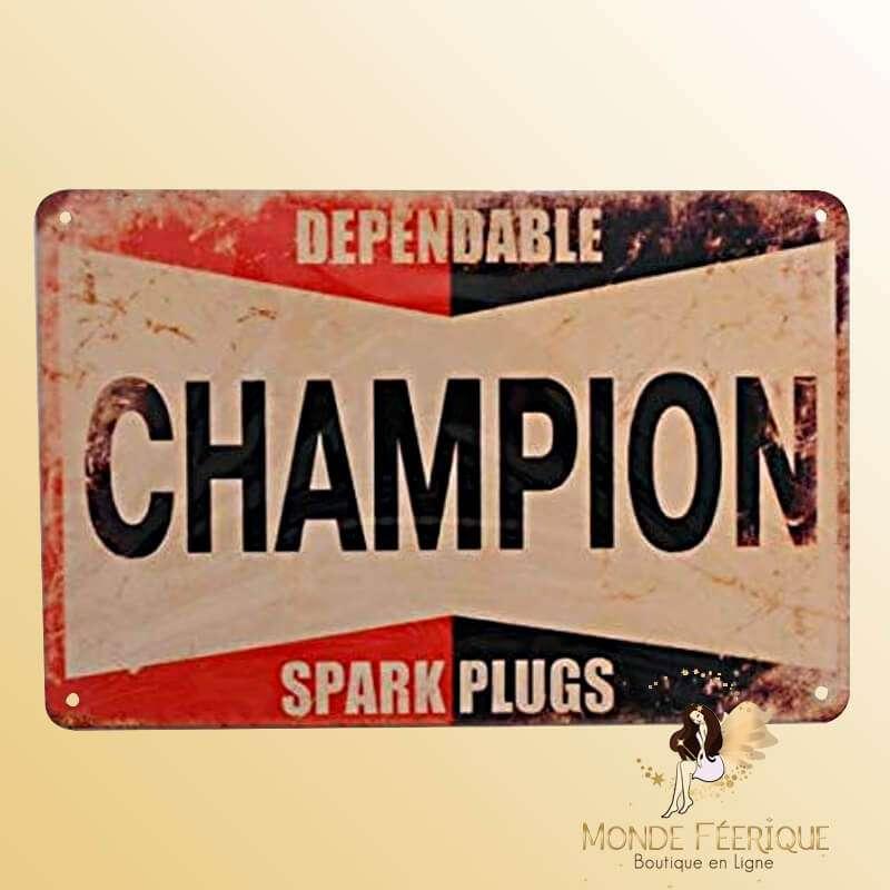 Plaque Vintage Champion Rouge et Noir