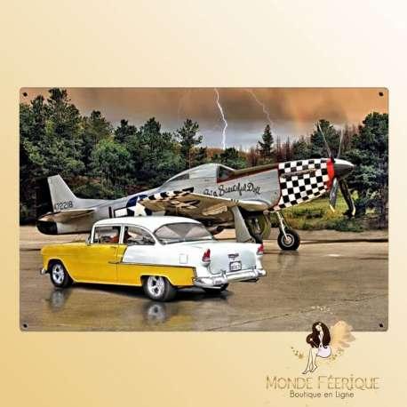Plaque murale vintage Avions et voitures