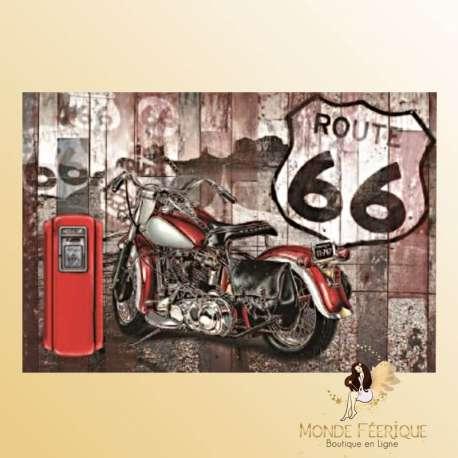 Plaque Vintage Biker Rouge Route 66