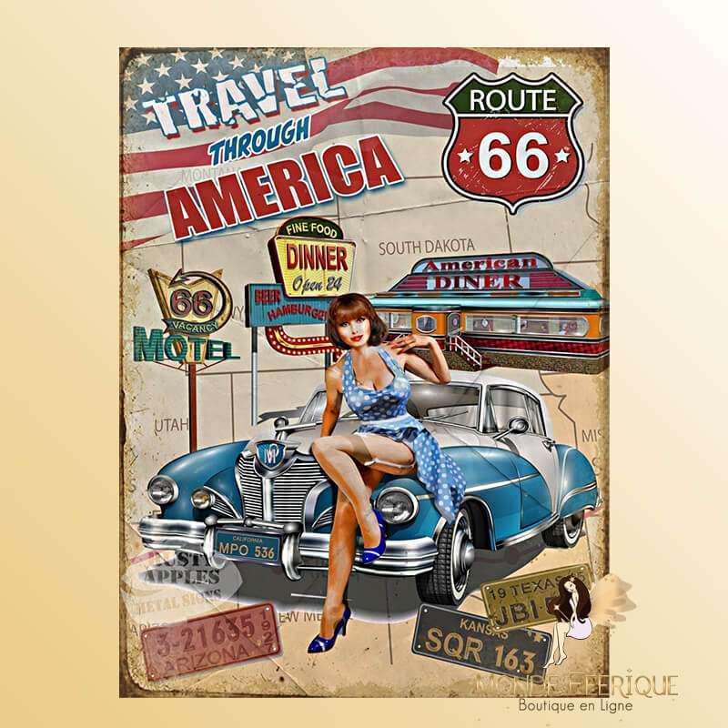Plaque Vintage Vacance américaine