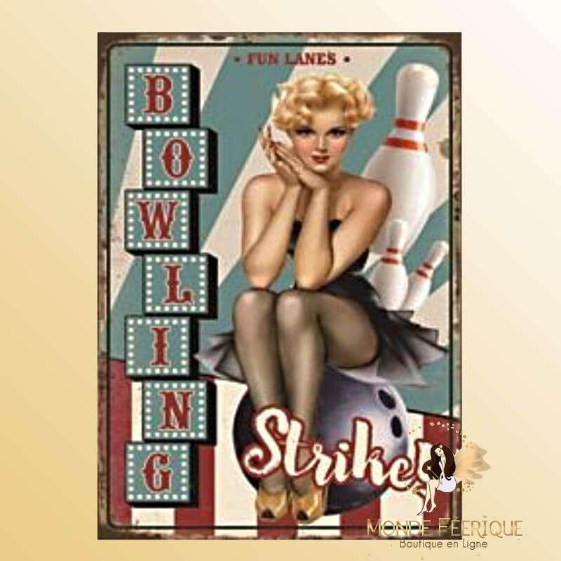 Plaque Vintage Bowling Strike