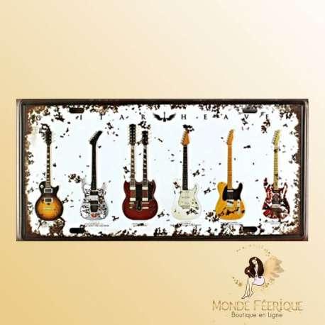Plaque vintage de decoration guitare electrique
