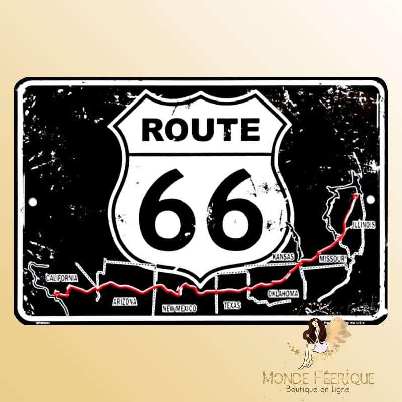 """Plaque vintage """"La route 66"""""""