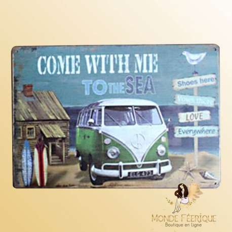 """Plaque vintage Relax """" Come with me to the sea"""""""