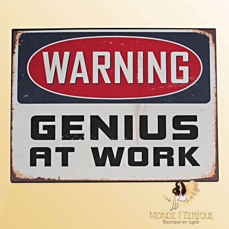 "Plaque Vintage ""Genious at Work"""