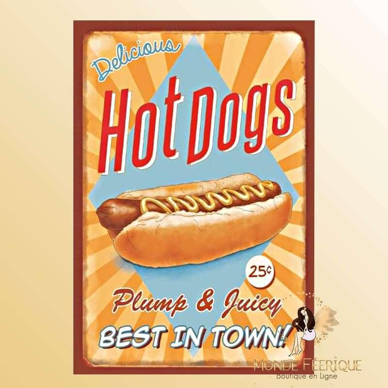 Plaque Vintage Hot dog Delicious