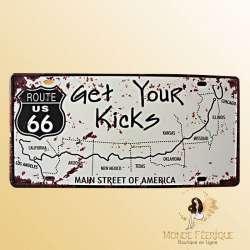 """Plaque Rétro """"Get your Kicks"""""""