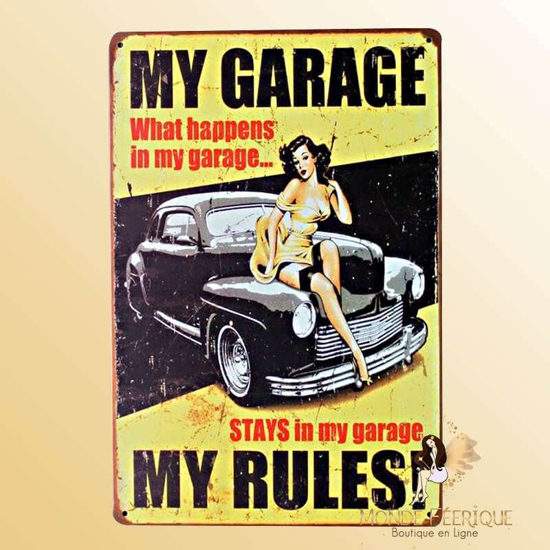 "Plaque Rétro ""My Garage my Rules"""