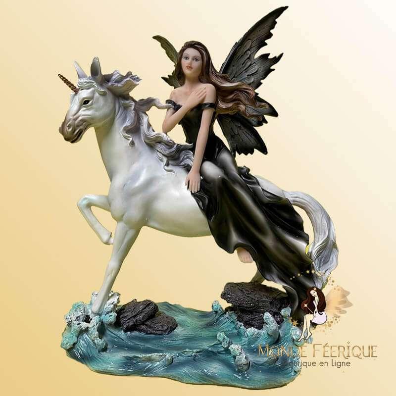 Grande Figurine de Fée Licorne des Oceans -- 29cm