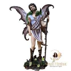 Statuette Elfe Sceptre et petit Dragon -- 26cm