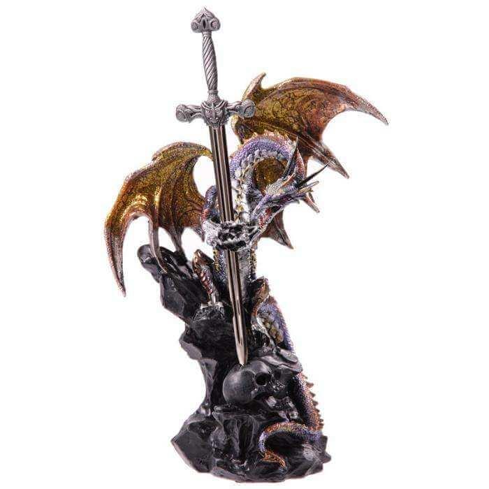 Grande Statuette Dragon avec Epée