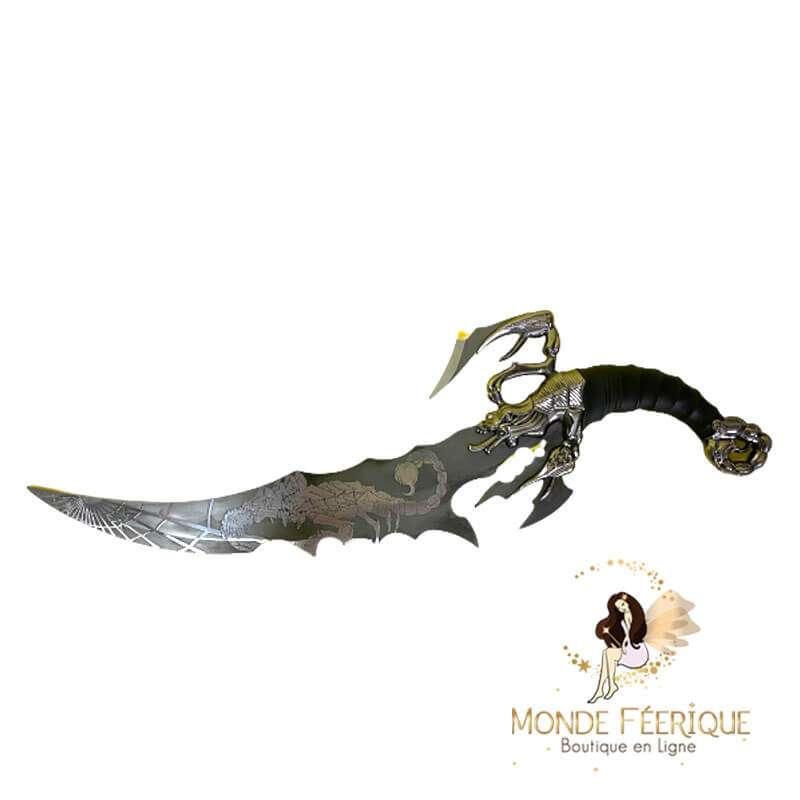 Couteau Lame Gravée Scorpion