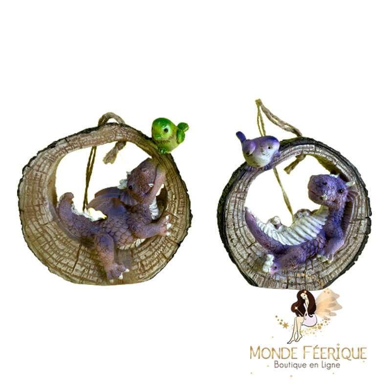 Figurine Dragon Amoureux Nature x2