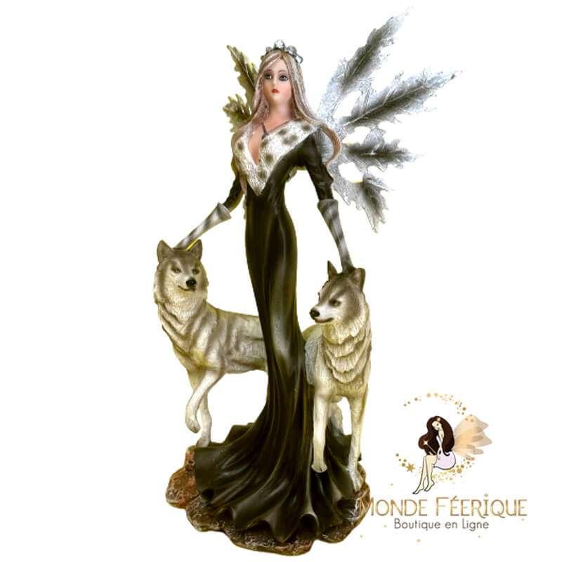 Figurine de Fée et ses 2 Loups