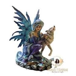 Fée avec loup Blanc -- 16cm