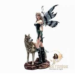 Statuette Fée avec un Loup