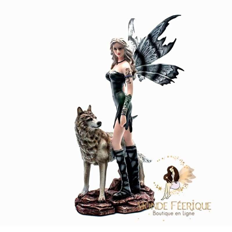 Statuette Fée Sola avec un Loup