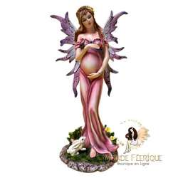 Statuette Fee Enceinte Rose -- 29cm