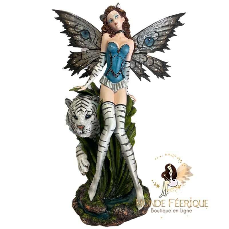 Grande Figurine de Fée avec Tigre Blanc-- 67cm