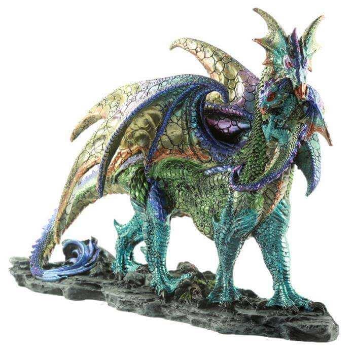 Statuette Dragon Mère Enfant 48cm