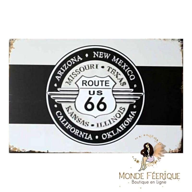Plaque Métal Décoration Route 66 -- 20x30cm
