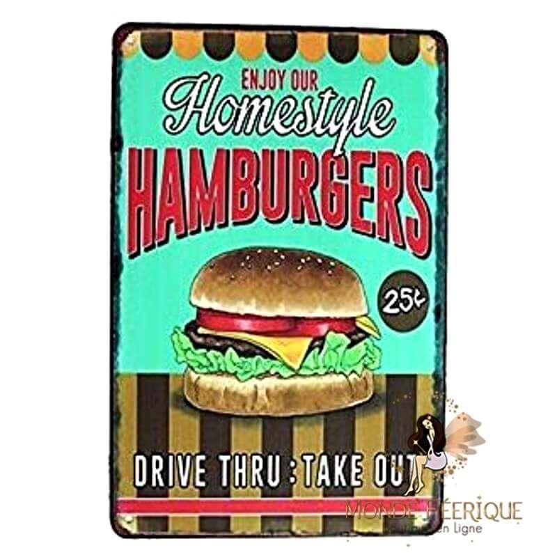 Plaque Métal Décoration Burger -- 20x30cm