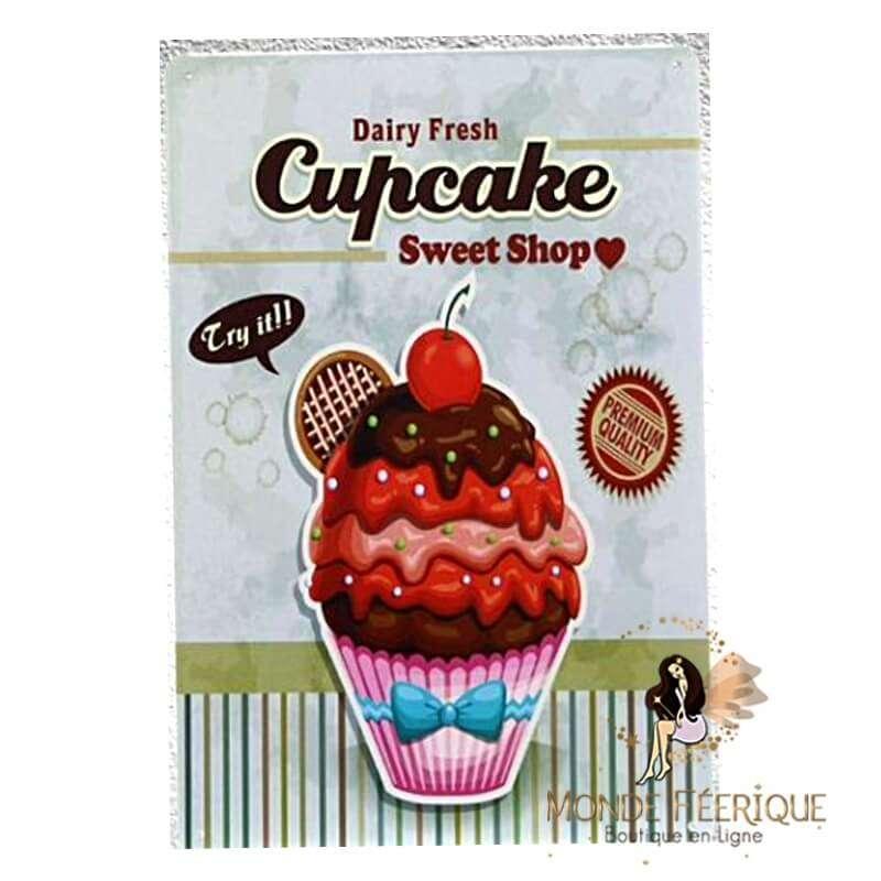 Plaque vintage cupcake Sweet -- 20x30cm