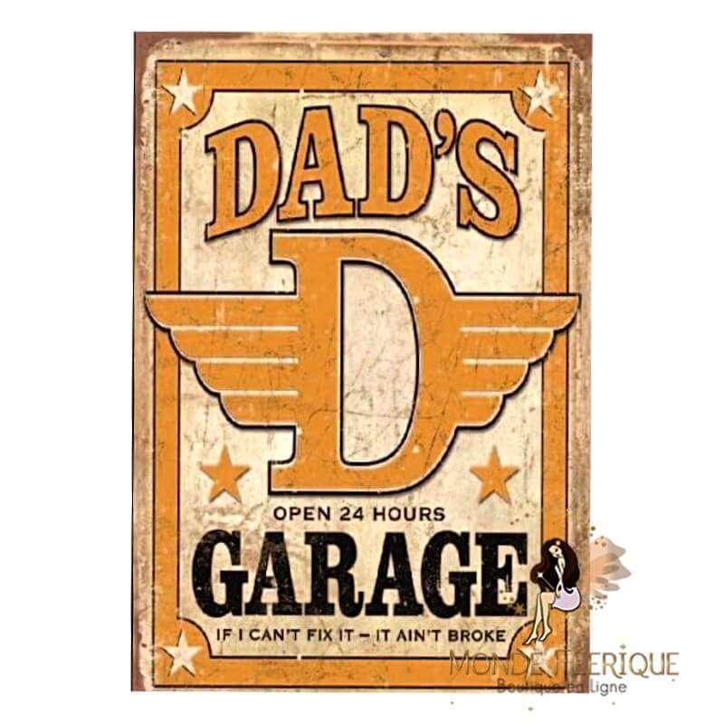 Plaque vintage Dad Garage -- 20x30cm