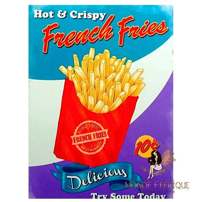 Plaque vintage French Fries (Frites) -- 20x30cm
