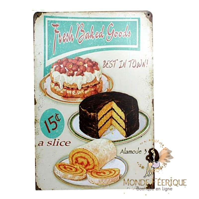 Plaque Vintage Gateau (Muffin, Cupcake) -- 20x30cm