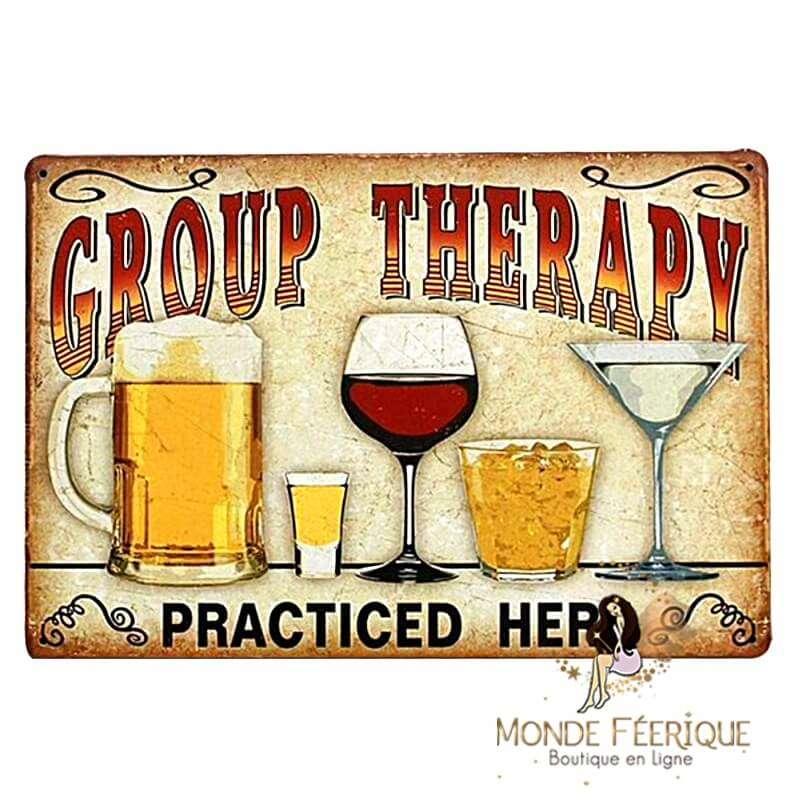 Plaque Vintage Groupe Therapy -- 20x30cm