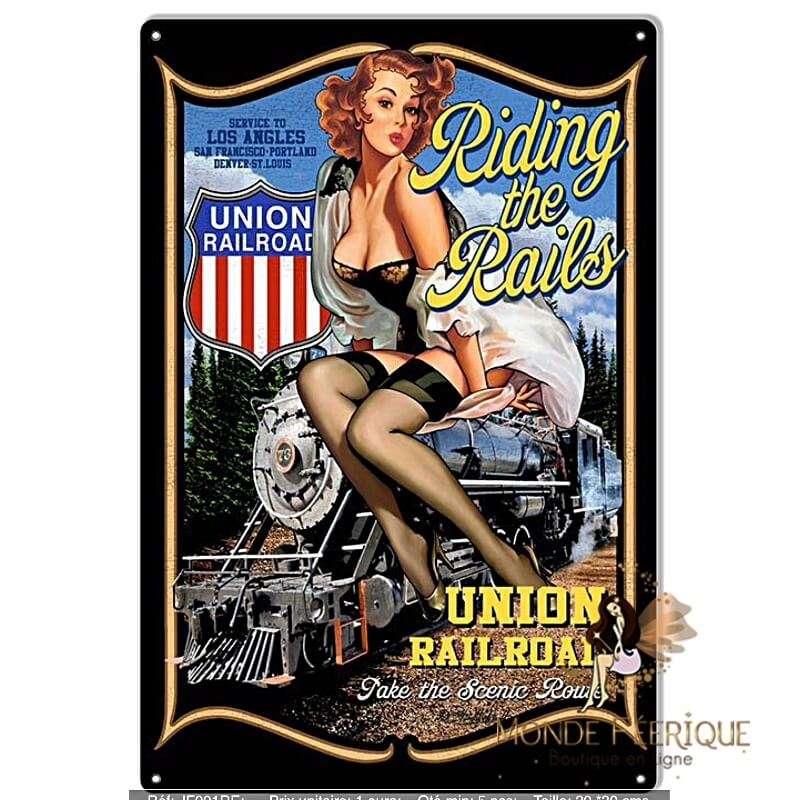 Plaque Vintage Pin Up Train -- 20x30cm