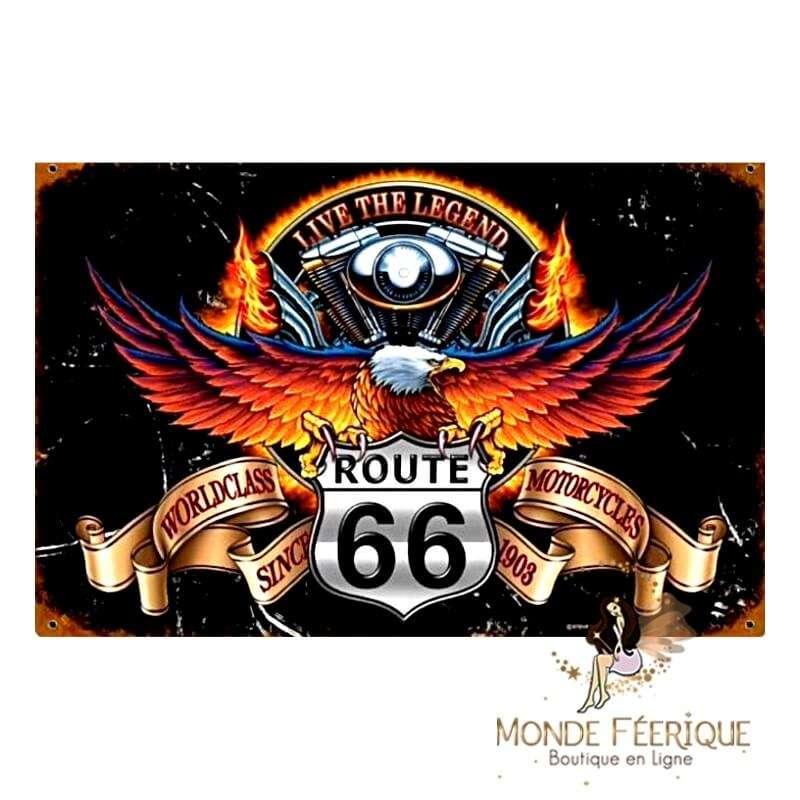 Plaque Vintage Route66 World Class -- 20x30cm
