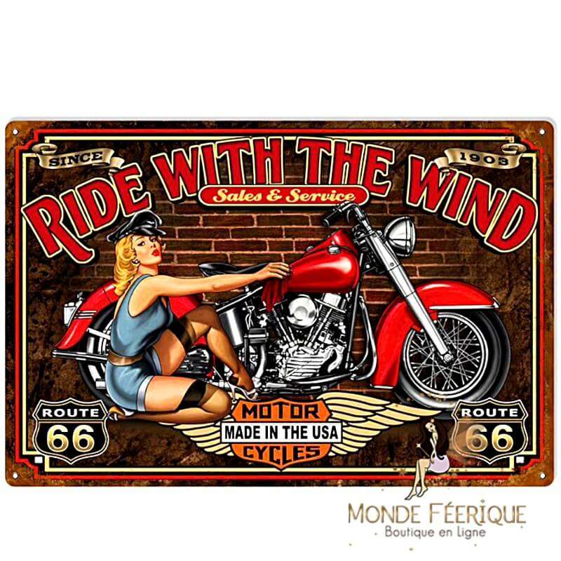 Plaque Vintage Ride With the Wind -- 20x30cm