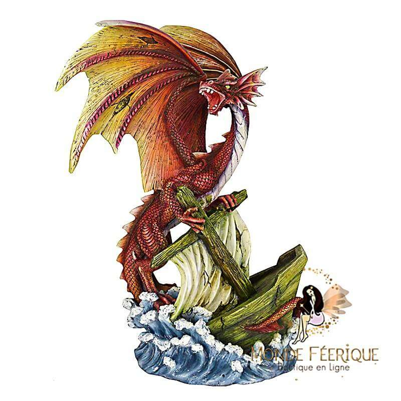 """Statue Dragon Géant """"Naufragé"""" 37cm"""