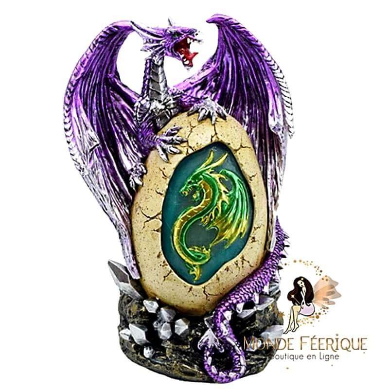 Statue Dragon Lumineux Purple -- 21cm