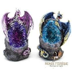 2 Figurines de Dragons Lumineux avec Roche