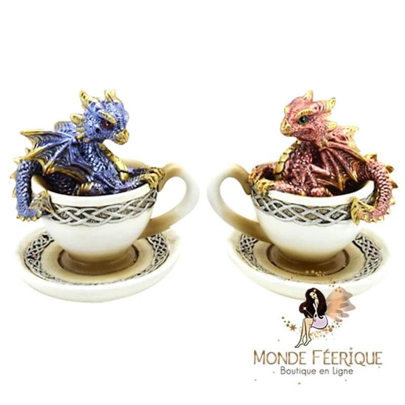 Figurine Dragon dans tasse x2
