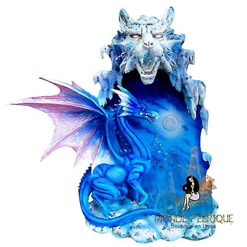 Statuette Dragon Lumineux Bleu