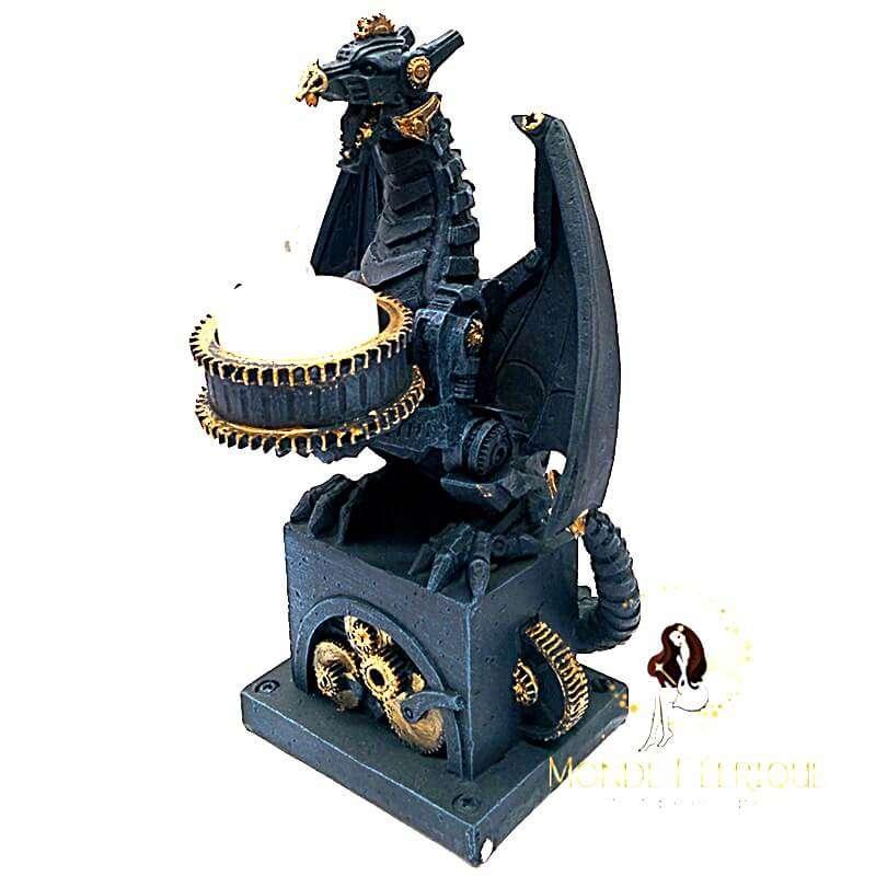 Bougeoir Dragon Black Or 19cm