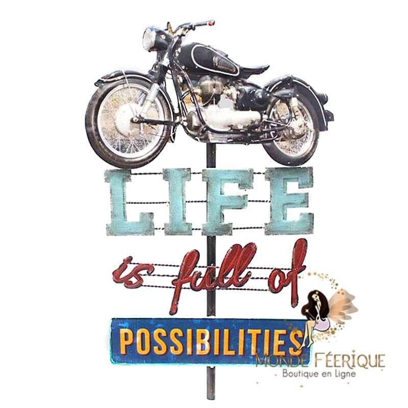 Enseigne lumineux Moto Biker USA Possibilité Vintage 75 cm LED Lumineux