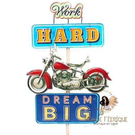 Enseigne retro Moto USA Vintage grand format
