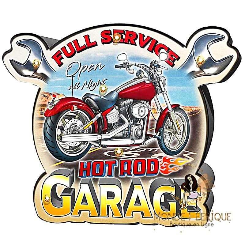 Plaque Vintage biker garage XL LED