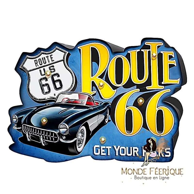 Plaque Vintage Route 66 XL LED