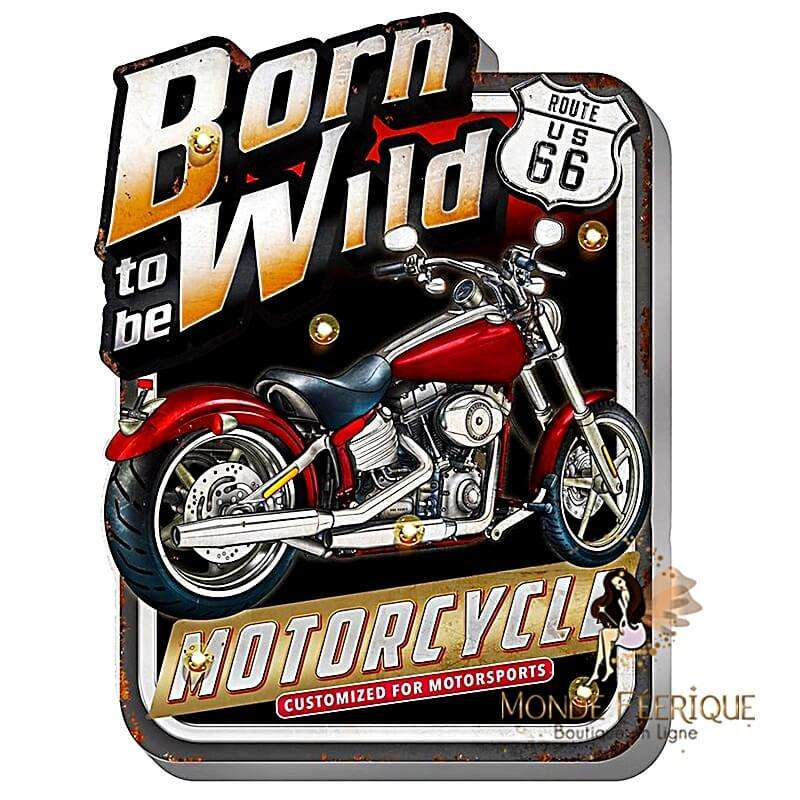"""Plaque Vintage """"born to be Wild"""" XL LED"""