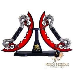 Dague Couteaux Dragons Rouge lames decorations