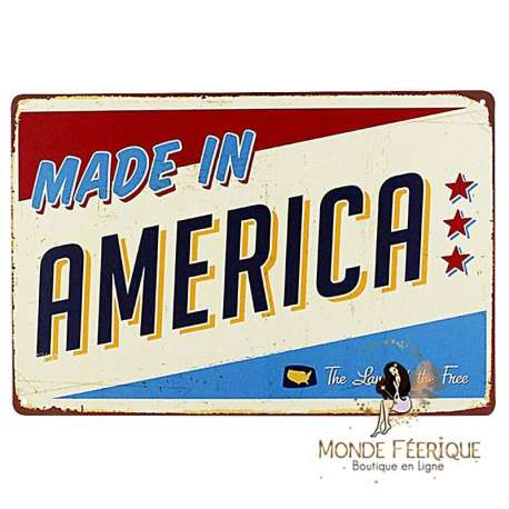 """Plaque Vintage """"Made in America"""""""