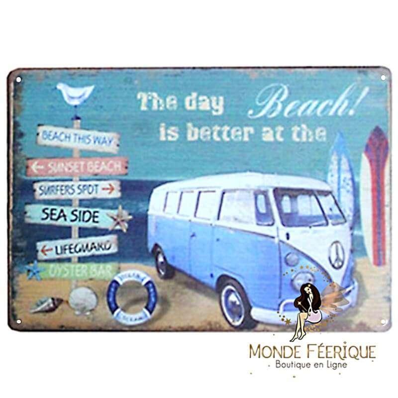 Plaque Vintage Vacance Beach